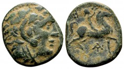 Kingdom of Macedon, Antigonos II Gonatas. Uncertain mint in Macedon, 277-239 BC. Æ18, 5.63 g.  Head of Herakles wearing lion skin right / B A youth on...