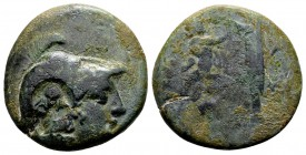 Kingdom of Macedon, Antigonos II Gonatas. Pella or Amphipolis, 271-239 BC. Æ18, 5.81 g. Helmeted head of Athena right / B A Pan standing right, erecti...