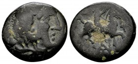 Kingdom of Macedon, Antigonos II Gonatas. Uncertain mint in Macedon, 277-239 BC. AE16, 4.63 g. Head of young Herakles wearing lions' skin right / hors...