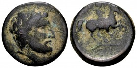 Thessaly, Krannon. Ca. 350-300 BC. Æ dichalkon, 5.46 gr. Laureate head of Poseidon (or Zeus) to right / KPA warrior on horseback right. BCD Thessaly 1...