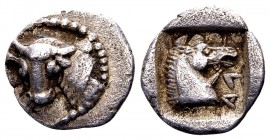 Thessaly, Lamia. ca. 400-350 BC.AR hemidrachm, 2.78 g. Head of Dionysos left, wearing ivy wreath / ΛAMIE ΩN amphora; ivy leaf above, prochous to right...