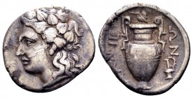 Thessaly, Larissa. Ca 479-465 BC. AR obol, 0.94 g. Protome of bull left / ΑΛ head of horse right. BCD Thessaly II 147. Extremely fine.