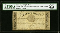 Canada La Prairie, LC- Henry's Bank 1/4 Dollar 19.6.1837 Ch.# 357-10-02 PMG Very Fine 25.   HID09801242017