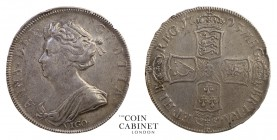 BRITISH COINS. Anne, 1702-14. Halfcrown, 1703-Vigo, London. 15.03 g. 33 mm. ESC-1358; S.3580. VIGO below bust, TERTIO on edge. A pleasant and problem-...