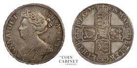 BRITISH COINS. Anne, 1702-14. Halfcrown, 1708, London. 15.03 g. 33 mm. KM-525.1; ESC-1370; S.3604. Post union issue, plain reverse, SEPTIMO on edge. A...
