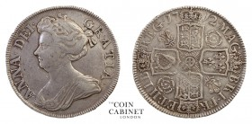 BRITISH COINS. Anne, 1702-14. Halfcrown, 1712, London. 15.00 g. 33 mm. ESC-1374; S.3607. Post-union issue, roses and plumes, UNDECIMO on edge. Minor a...