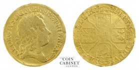 BRITISH COINS. George I, 1714-27. Gold Guinea, 1721, London. 8.08 g. 25 mm. S.3631. Fourth head, scarce. An ex-jewellery piece, several marks can be s...