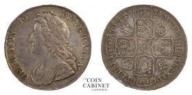 BRITISH COINS. George II, 1727-60. Halfcrown, 1734, London. 15.03 g. 33 mm. ESC-1676; S.3692. Young head, roses and plumes, SEPTIMO on edge. Very fine...