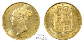 BRITISH COINS. Victoria, 1837-1901. Gold Half Sovereign, 1857, London. 4.00 g. 19.3 mm. Mintage: 728,223. Marsh 431, S.3859. Some hairlines, yet a mos...