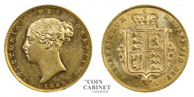 BRITISH COINS. Victoria, 1837-1901. Gold Half Sovereign, 1866, London. 4.00 g. 19.3 mm. Mintage: 2,058,776. Marsh 442, S.3860. A very pleasing, Uncirc...