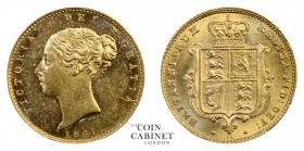 BRITISH COINS. Victoria, 1837-1901. Gold Half Sovereign, 1867, London. 4.00 g. 19.3 mm. Mintage: 992,795. Marsh 443, S.3860. Nice uncirculated coin ex...
