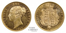 BRITISH COINS. Victoria, 1837-1901. Gold Half Sovereign, 1877, London. 4.00 g. 19.3 mm. Mintage: 1,962,800. Marsh 452, S.3860D. Remarkably brilliant u...