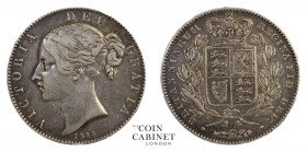BRITISH COINS. Victoria, 1837-1901. Crown, 1844, London. Cinquefoil stops. 28.16 g. 39 mm. Mintage: 94,248. S-3882. Scarcer type of the two edge types...