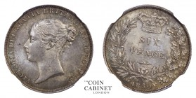 BRITISH COINS. Victoria, 1837-1901. Sixpence, 1852, London. NGC MS64. 3.10 g. 19 mm. Mintage: 904,587. S.3908. Housed in a secure plastic holder, auth...