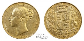 BRITISH GOLD SOVEREIGNS. Victoria, 1837-1901. Gold Sovereign, 1844, London. Shield. 7.99 g. 22.05 mm. Mintage: 3,000,445. Marsh 27, S.3852. About very...