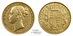 BRITISH GOLD SOVEREIGNS. Victoria, 1837-1901. Gold Sovereign, 1853, London. Shield. 7.94 g. 22.05 mm. Mintage: 10,597,993. Marsh 36, S.3852C. WW raise...
