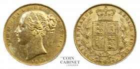 BRITISH GOLD SOVEREIGNS. Victoria, 1837-1901. Gold Sovereign, 1855, London. Shield. 8.00 g. 22.05 mm. Mintage: 8,448,482. Marsh 38, S.3852D. WW incuse...