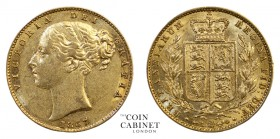 BRITISH GOLD SOVEREIGNS. Victoria, 1837-1901. Gold Sovereign, 1857, London. Shield. 8.01 g. 22.05 mm. Mintage: 4,495,748. Marsh 40; S.3852D. Shield ty...