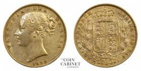 BRITISH GOLD SOVEREIGNS. Victoria, 1837-1901. Gold Sovereign, 1858, London. Shield. 7.99 g. 22.05 mm. Mintage: 803,234. Marsh 41; S.3852D. A scarce da...