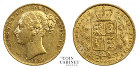 BRITISH GOLD SOVEREIGNS. Victoria, 1837-1901. Gold Sovereign, 1859, London. Shield. 7.98 g. 22.05 mm. Mintage: 1,547,603. Marsh 42; S.3852D. The 1859 ...