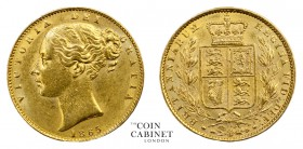 BRITISH GOLD SOVEREIGNS. Victoria, 1837-1901. Gold Sovereign, 1865, London. Shield. 8.00 g. 22.05 mm. Mintage: 1,450,238. Marsh 50, S.3853. Die number...