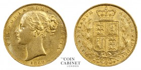 BRITISH GOLD SOVEREIGNS. Victoria, 1837-1901. Gold Sovereign, 1868, London. Shield. 8.00 g. 22.05 mm. Mintage: 1,653,384. Marsh 52, S.3853. Die number...
