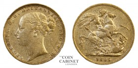 BRITISH GOLD SOVEREIGNS. Victoria, 1837-1901. Gold Sovereign, 1885, London. St George. 7.93 g. 22.05 mm. Mintage: 717,723. Marsh 93, S.3856F. WW compl...