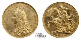 BRITISH GOLD SOVEREIGNS. Victoria, 1837-1901. Gold Sovereign, 1890, London. Jubilee head. 7.99 g. 22.05 mm. Mintage: 6,529,887. Marsh 128, S.3866B. No...