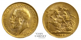 BRITISH GOLD SOVEREIGNS. George V, 1910-36. Gold Sovereign, 1912, London. 8.01 g. 22.05 mm. Mintage: 30,317,921. Marsh 214, 3996. Almost uncirculated.