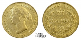 AUSTRALIAN GOLD SOVEREIGNS. Victoria, 1837-1901. Gold Sovereign, 1860-SY, Sydney. 7.91 g. 22.05 mm. Mintage: 1,573,500. KM# 4. 1860 is together with 1...