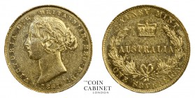 AUSTRALIAN GOLD SOVEREIGNS. Victoria, 1837-1901. Gold Sovereign, 1861-SY, Sydney. 7.99 g. 22.05 mm. Mintage: 1,626,000. Marsh 366; KM.4; McD.108. Scar...