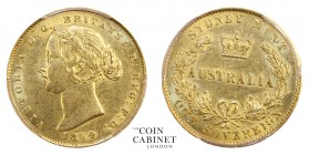 AUSTRALIAN GOLD SOVEREIGNS. Victoria, 1837-1901. Gold Sovereign, 1864-SY, Sydney. PCGS AU55. 7.99 g. 22.05 mm. Mintage: 2,698,500. Marsh 369; KM.4; Mc...