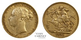 AUSTRALIAN GOLD SOVEREIGNS. Victoria, 1837-1901. Gold Sovereign, 1873-S, Sydney. St George. 7.96 g. 22.05 mm. Mintage: 1,478,000. Marsh 112, S.3858A. ...