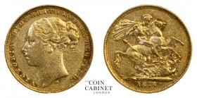 AUSTRALIAN GOLD SOVEREIGNS. Victoria, 1837-1901. Gold Sovereign, 1876-M, Melbourne. St George. 7.97 g. 22.05 mm. Mintage: 2,124,445. S.3857, Marsh 98....
