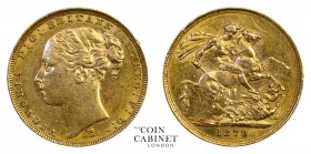 AUSTRALIAN GOLD SOVEREIGNS. Victoria, 1837-1901. Gold Sovereign, 1879-M, Melbourne. St George. 8.00 g. 22.05 mm. Mintage: 2,740,594. Marsh 101; S.3857...