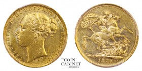 AUSTRALIAN GOLD SOVEREIGNS. Victoria, 1837-1901. Gold Sovereign, 1879-S, Sydney. St George. PCGS AU55. 7.99 g. 22.05 mm. Mintage: 1,366,000. Marsh 116...
