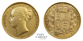 AUSTRALIAN GOLD SOVEREIGNS. Victoria, 1837-1901. Gold Sovereign, 1883-S, Sydney. Shield. 7.96 g. 22.05 mm. Mintage: 1,108,000. S.3855B; Marsh 79. A sc...