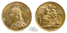 AUSTRALIAN GOLD SOVEREIGNS. Victoria, 1837-1901. Gold Sovereign, 1887-M, Melbourne. Jubilee-Normal JEB. 7.99 g. 22.05 mm. Mintage: 940,000. Marsh 131,...