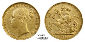 AUSTRALIAN GOLD SOVEREIGNS. Victoria, 1837-1901. Gold Sovereign, 1887-S, Sydney. St George. 7.99 g. 22.05 mm. Mintage: 1,003,000. S.3858E; Marsh 124. ...
