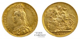 AUSTRALIAN GOLD SOVEREIGNS. Victoria, 1837-1901. Gold Sovereign, 1891-M, Melbourne. Jubilee head. 7.99 g. 22.05 mm. Mintage: 2,749,592. S.3867C. Norma...
