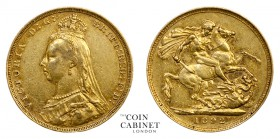 AUSTRALIAN GOLD SOVEREIGNS. Victoria, 1837-1901. Gold Sovereign, 1892-S, Sydney. Jubilee head. 7.99 g. 22.05 mm. Mintage: 2,837,000. Marsh 143, S.3868...