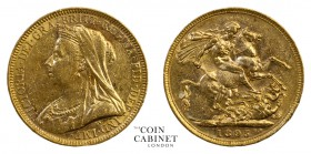 AUSTRALIAN GOLD SOVEREIGNS. Victoria, 1837-1901. Gold Sovereign, 1895-M, Melbourne. Old head. 8.00 g. 22.05 mm. Mintage: 4,165,869. S.3875; Marsh 155....