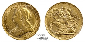 AUSTRALIAN GOLD SOVEREIGNS. Victoria, 1837-1901. Gold Sovereign, 1895-S, Sydney. Old head. 7.99 g. 22.05 mm. Mintage: 2,758,000. Marsh 164, S.3877. Ab...