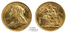 AUSTRALIAN GOLD SOVEREIGNS. Victoria, 1837-1901. Gold Sovereign, 1897-M, Melbourne. Old head. 8.00 g. 22.05 mm. Mintage: 5,130,565. S.3875; M.157; McD...