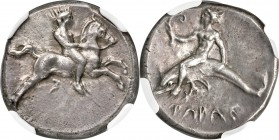 CALABRIA. Tarentum Ca. 380-340 BC. AR nomos (20mm, 7.88 gm, 2h). NGC Choice XF 5/5 - 3/5, Fine Style. Nude youth on horse galloping right, holding rei...