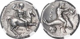 CALABRIA. Tarentum. Ca. 281-240 BC. AR stater or didrachm (21mm, 6.50 gm, 3h). NGC AU 4/5 - 5/5. Nicocra- and N-, magistrates. Nude horseman galloping...
