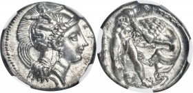 LUCANIA. Heraclea. Ca. 390-330 BC. AR stater (22mm, 7.83 gm, 4h). NGC Choice AU 5/5 - 3/5, Fine Style. Head of Athena right, wearing crested Attic hel...