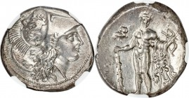 LUCANIA. Heraclea. Ca. 330-280 BC. AR stater (20mm, 7.87 gm, 8h). NGC AU 4/5 - 4/5, Fine Style. Head of Athena right wearing Corinthian helmet tilted ...