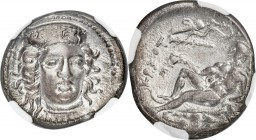 BRUTTIUM. Croton. Ca. 400-325 BC. AR stater (22mm, 7.67 gm, 10h). NGC Choice VF 4/5 - 2/5, punch mark. Head of Hera Lacinia facing slightly right, wea...