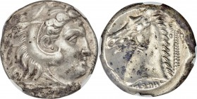 SICULO-PUNIC. Sicily. Ca. 300-289 BC. AR tetradrachm (22mm, 17.33 gm, 10h). NGC AU 4/5 - 3/5. Quaestors issue. Head of young Heracles right, wearing l...
